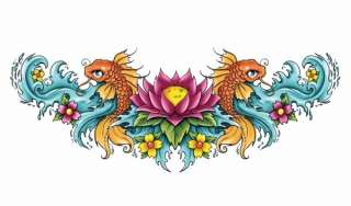 CHINESE KOI FISH AND FLOWER LOWER BACK Temporary Tattoo
