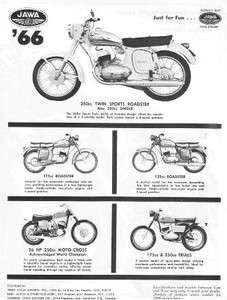 1966 Jawa Roadster & Moto Cross Motorcycle Original Ad