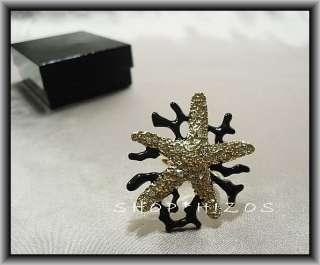 KENNETH JAY LANE BLACK BRANCH GOLD CRYSTAL STARFISH RING OSFA NIB $115