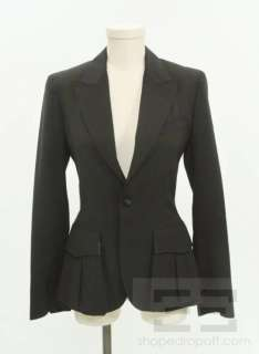 Jean Paul Gaultier Femme Black Wool Single Button Blazer Size 4 US