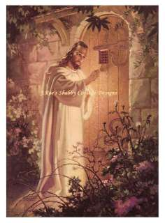 Jesus Christ Knocking at Hearts Door Fabric Block 8x10