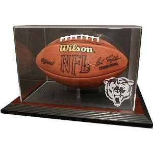 Display Case with Mahogany Wood Base and Engraved NFL Team Logo