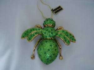Joan Rivers Green Glitter Bee Christmas Ornament Boxed