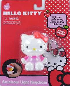 HELLO KITTY RAINBOW LIGHT Keychain Keyring SANRIO NEW
