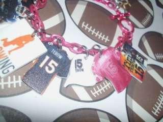 Tim Tebow charms bracelet 316, 11 charms OOak Denver Broncos