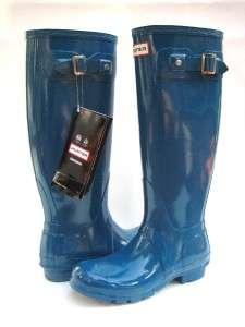NEW HUNTER RAIN BOOT original tall High gloss TEAL/BLUE women SIZE 9