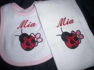 Ladybug lady bug Flower Baby Bib & Burp Cloth Set Personalized KAs