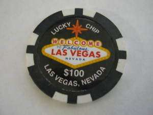 Las Vegas Casino Poker Chip Magnet $100 Lucky Chip