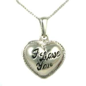 Love You Enamel Pendant and 18in Silver Box Chain Necklace Small