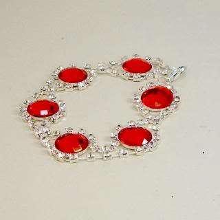 Handmade link bracelet tomato red sets rhinestone surround glitter
