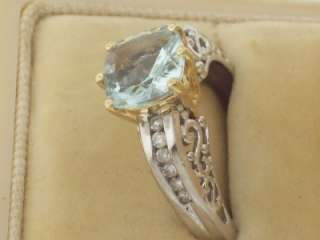 VINTAGE 14K WHITE GOLD ANTIQUE STYLE FILIGREE AQUAMARINE DIAMOND RING