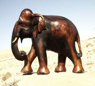 Very Large 3.2kg Old Vtg Wood Carved African Elephant Statue