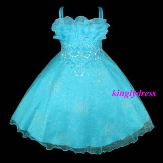 NEW Flower Girl Pageant Wedding Bridesmaid Dress Blue Size 5, 6, 7, 8