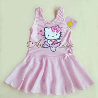 Pink Girls Fairy Ballet Dance Leotard Chiffon Tutu Skate Dress Skirt