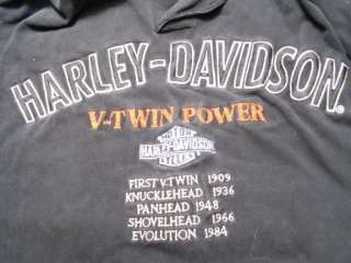 HARLEY DAVIDSON BLACK LONG SLEVE SHIRT V TWIN POWER