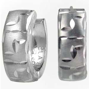 14kt White Gold Diamond Cut Greek Key Mini Hoop Earrings Jewelry