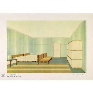 1932 Art Deco Bedroom Bed Settee Rug Bureau Lamp Print