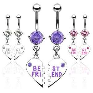 Pair of Best Friend Heart Charm Pendent Tanzanite Cubic