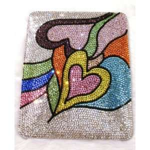 Multi Color Picasso Double Hearts Pattern Bling Apple IPad Case Cover