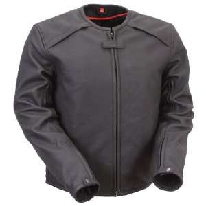Mens First Racing Armored Black Leather Motorcycle Jacket