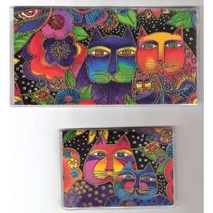 Checkbook Cover Debit Set Made with Laurel Burch Cat and Flower Fabric