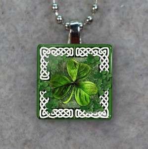 Celtic Knot Shamrock Irish Glass Tile Pendant Necklace 711
