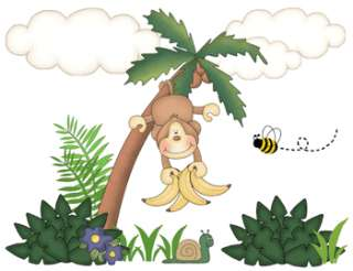 MONKEY JUNGLE SAFARI PALM TREE BEE NURSERY BABY WALL ART BORDER