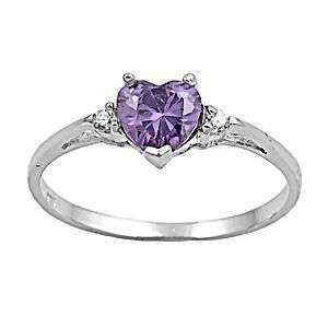 27ct Amethyst Ice CZ Heart Cut Promise Commitment Friendship Ring sz 6