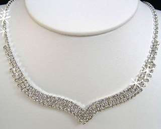 Bridal NECKLACE EARRINGS SET COSTUME Prom JEWELRY N1X48
