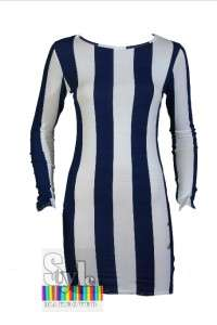New Women White Black Bold Vertical Stripe Striped Tunic Top Bodycon