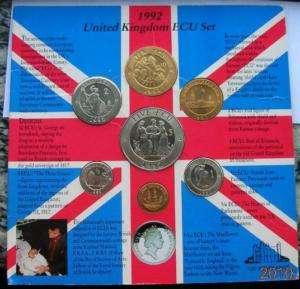 United Kingdom 1992 ECU Mint Set of 7 Coins,UNC,Rare