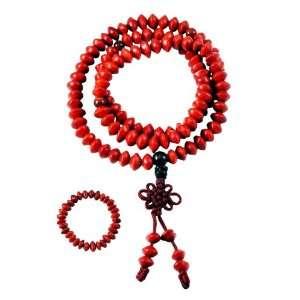 Red Bodhi Seed Prayer Beads Necklace and Bracelet Set, Tibetan Malas