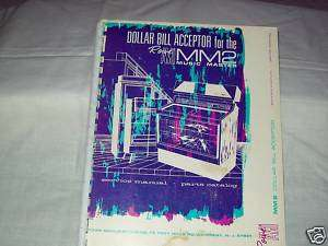 Rowe AMI MM2 Dollar Bill Acceptor Manual Original