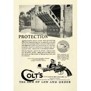 1924 Ad Antique Colt Firearms Revolver Gun Moat Drawbridge