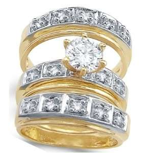 CZ Engagement Ring & Wedding Bands 14k Yellow Gold Bridal (1.75 Carat