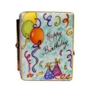 Happy Birthday Colorful Book with Cake French Limoges Box