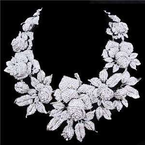 New Wedding Rose Necklace Earring Set Swarovski Crystal