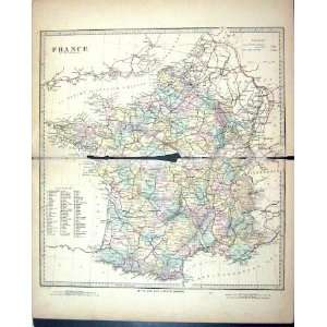 Harrow Antique Map 1880 Departments France Bay Biscay