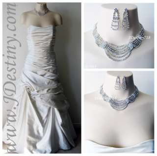 Wedding Bridal Crystal Necklace Earrings Set Prom A5064