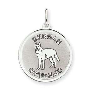 Sterling Silver German Shepherd Dog Round Pendant Charm