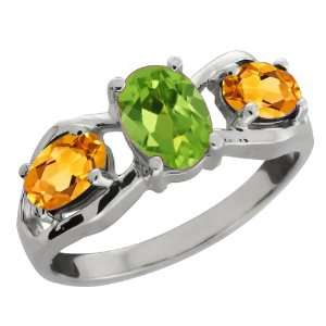 Ct Oval Green Peridot and Yellow Citrine Sterling Silver Ring Jewelry