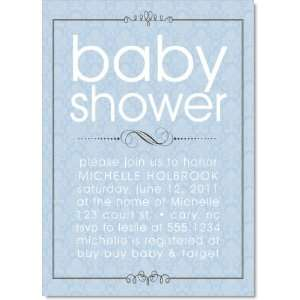 Grand Swirling Frame Blue Baby Shower Invitations