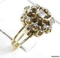 50ctw Genuine Diamond Flower RING   14k Gold Vintage Floral Womens