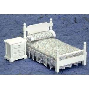 Dollhouse Miniature White Bedroom Set