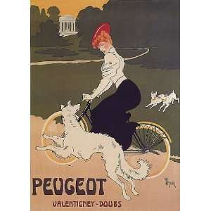BICYCLE CYCLE BIKE DOG PEUGEOT VALENTIGNEY DOUBS FRENCH VINTAGE POSTER