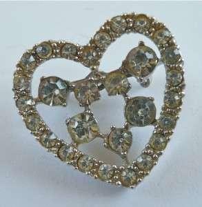 Vintage PIN Brooch~Rhinestone RHINESTONE HEART~Sparkly~1 1/4x1 1/4