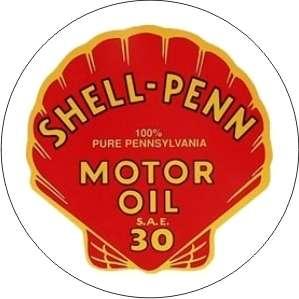 Vintage Shell Penn Motor Oil sticker decal sign 3 dia.