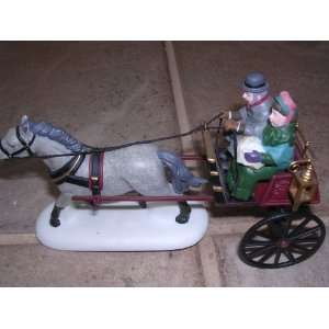 Christmas Sulky with Horse ; Handpainted Porcelain Accessories #58401
