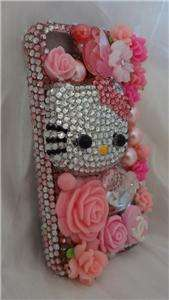 Sweet Pink Czech Crystals Bling 3D Hello Kitty Style Case Fits iPhone