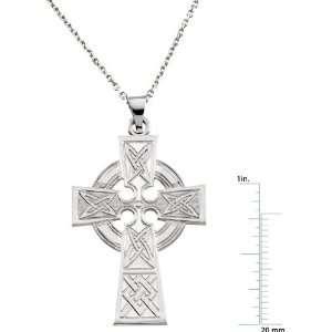 14 Karat White Gold Celtic Cross Pendant Diamond Designs Jewelry